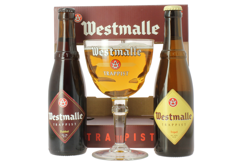 Gift box with beer and glass - Westmalle Giftpack - 2x33cl + 1 glas