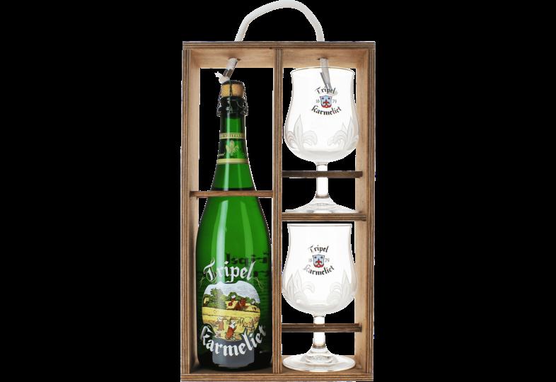 Accessori e regali - Tripel Karmeliet Confezione Regalo con scatola in legno (1 birra 75cl + 2 bicchieri)