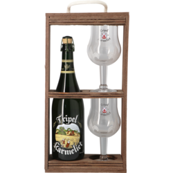 Accessoires et cadeaux - Coffret Tripel Karmeliet Bois -1 bière et 2 verres
