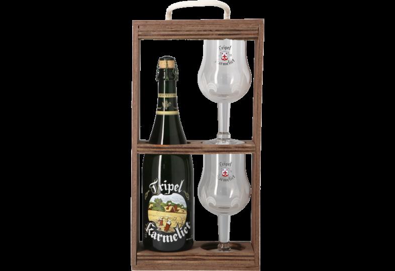 Accessori e regali - Tripel Karmeliet Confezione Regalo con scatola in legno - 1 birra 75cl + 2 bicchieri
