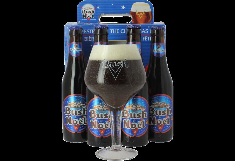 Coffrets cadeaux verre et bière - Coffret Bush de Noël - 4 bières et 1 verre