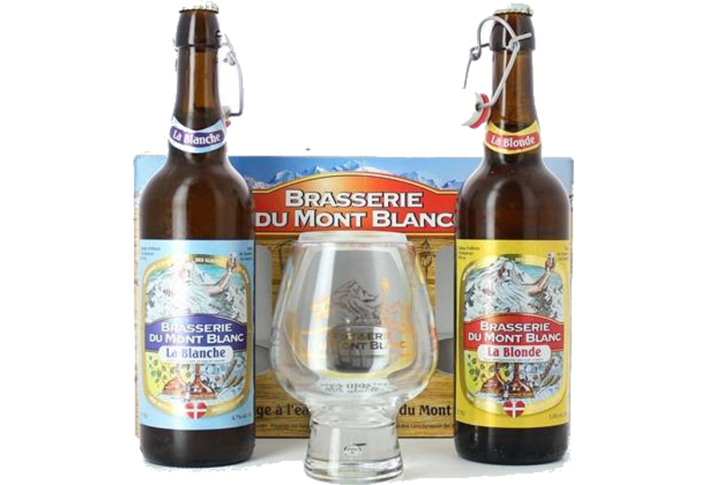 Pack regalo con cerveza y vasos - Coffret Mont Blanc