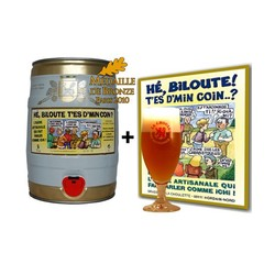 Fûts de bière - 1 Fût Hé Biloute + 1 verre + 1 affiche