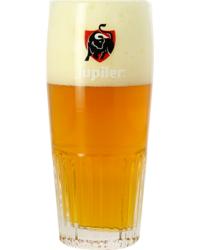 Biergläser - Glas Jupiler strié - Logo rouge - 33 cl