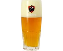 Verres à bière - Verre Jupiler strié - Logo rouge - 33 cl