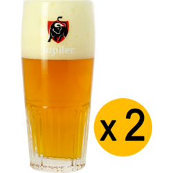 Biergläser - 2 Glases Jupiler strié - Logo rouge - 33 cl