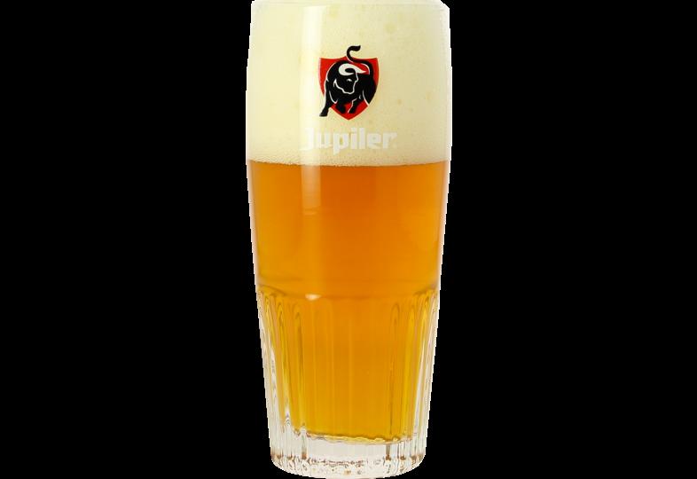 Verres à bière - Verre Jupiler strié - Logo rouge - 25 cl