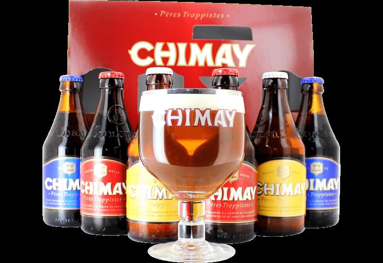 Coffrets cadeaux verre et bière - Coffret Chimay Triologie (6 bières 1 verre)