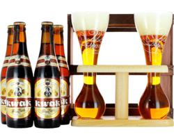 Coffrets cadeaux verre et bière - Kwak Confezione Regalo 4 birre + 2 bicchieri su base di legno