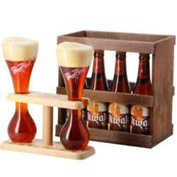 Gift box with beer and glass - Kwak Gift Pack 4 beers + 2 glasses on their wooden base