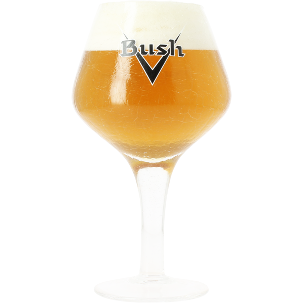 Bush crackle-finish glass with black logo - 33 cl