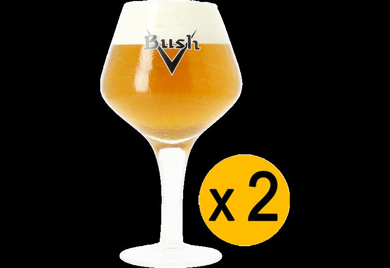 Beer glasses - 2 Bush crackle-finish glasses with black logo - 33 cl
