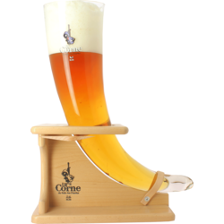 Beer glasses - La Corne du Bois Des Pendus glass with wooden base - 3 L