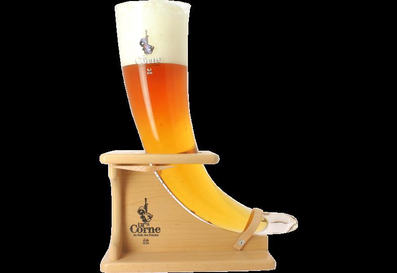 Beer glasses - La Corne du Bois Des Pendus glass with wooden base - 3 L