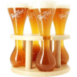 Bicchieri - Kwak Quattro Bicchieri da birra - con base in legno