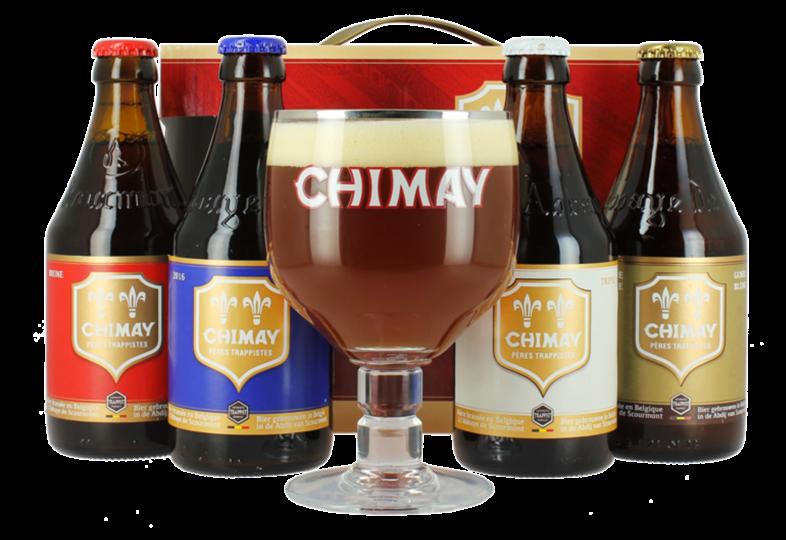 Gåvoboxar med öl och glas - Coffret Chimay Quadrilogie - 4 bières et 1 verre