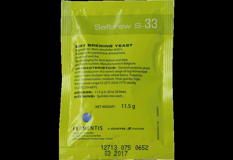 Levures pour fermentation - Levure sèche Safbrew S-33 11g