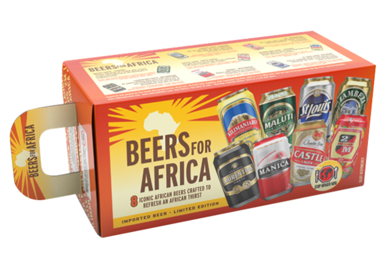 Gift box with beer and glass - Gift Pack Beers For Africa