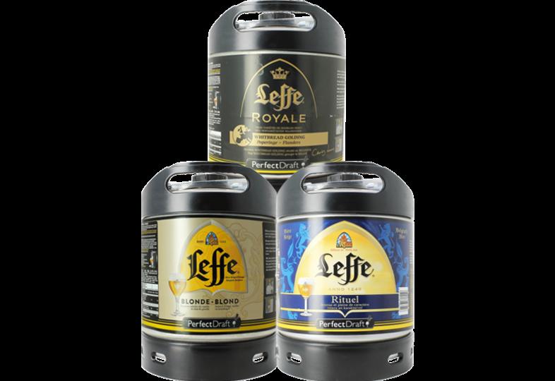 Fûts de bière - Assortiment 3 fûts 6L Leffe Blonde - Leffe Rituel - Leffe Royal