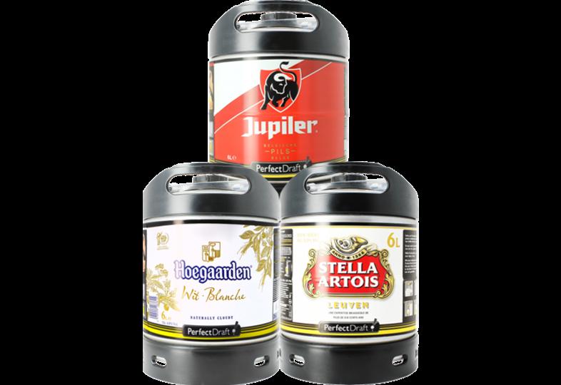 Fûts de bière - Assortiment 3 fûts 6L Hoegaarden - Stella Artois - Jupiler