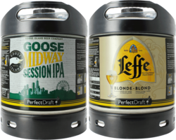 Bier Tapvatjes - Leffe Blonde & Goose Island Midway PerfectDraft 6-liter Tapvaatje - 2-Pack