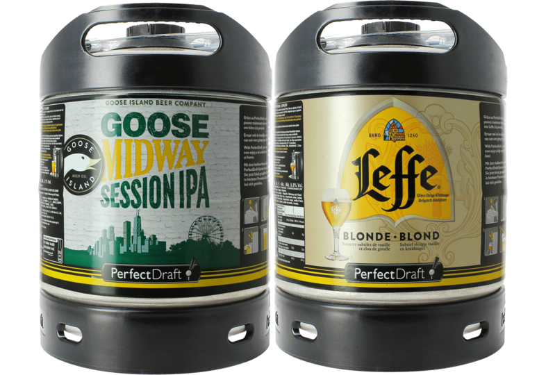 Bier Tapvatjes - Leffe Blonde & Goose Island Midway PerfectDraft 6-liter Tapvaatje - 2-Pack