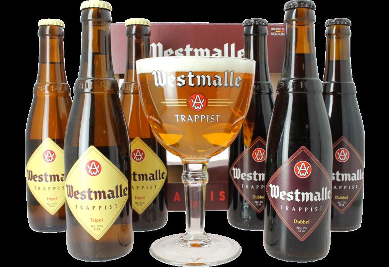 Cadeaus en accessoires - Abbaye de Westmalle Trappist Speciaalbier Cadeaupakket - 6 bieren + 1 glas
