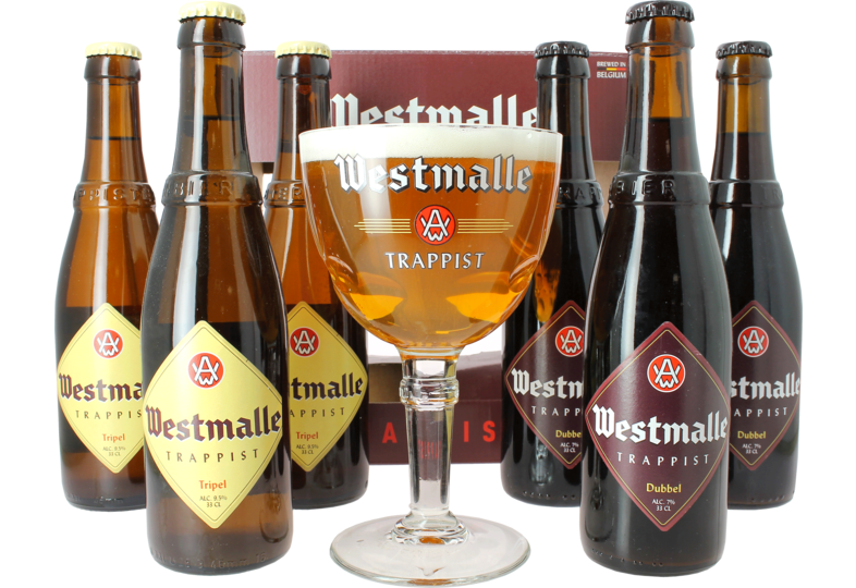 Regalos y accesorios - Pack de regalo de la Abadía Trapense de Westmalle - 6 Cervezas + 1 Copa