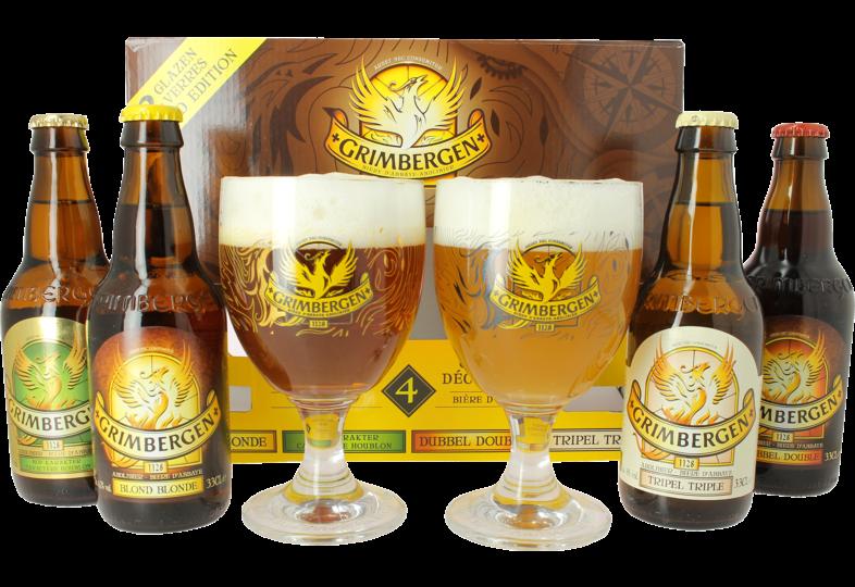 Accessoires et cadeaux - Coffret Grimbergen Discovery - 4 bières + 2 verres