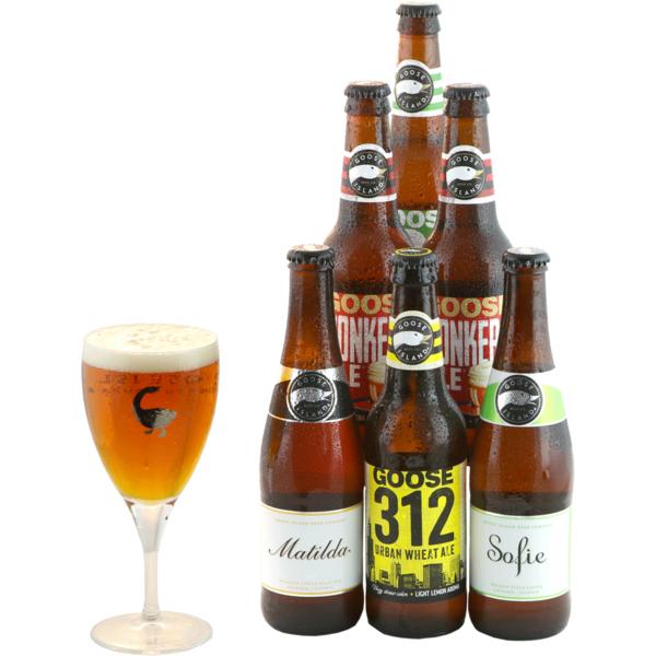 Assortiment Goose Island - 6 biertjes en een Goose Island Glas