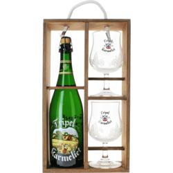 Coffrets et cadeaux - Coffret Tripel Karmeliet - Bois (1 bière 75cl 2 verres)