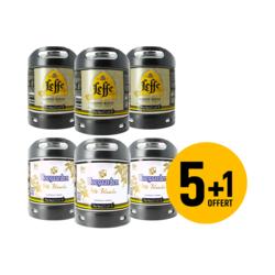 Fûts de bière - Assortiment 3 fûts 6L de Leffe blonde et 3 fûts 6L Hoegaarden (dont 1 offert)