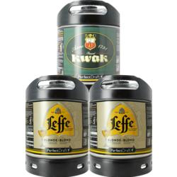 Fûts de bière - Assortiment 3 fûts 6L : 2 Leffe Blonde - 1 Kwak