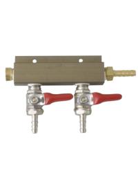 """Kegs - CO2 Distributor 2 Way w/ 1/4"""" barb shutoff Lead-free"""