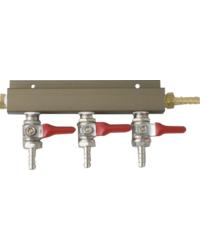 """Fûts de bière - Distributeur CO2 avec 3 sorties connexion tuyau 1/4""""  avec vanne d'arrêt"""