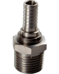 "Brouwbenodigdheden - Male Stainless 1/2"" NPT x 3/8"" Barb"
