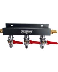 "Brewing Accessories - CO2 Distributor 3-Way w/ 1/4"" MFL shutoffs Lead-Free"