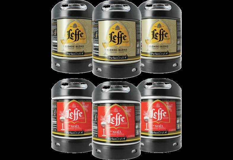 Fûts de bière - Assortiment 6 fûts : 3 Leffe blonde - 3 Leffe de Noël