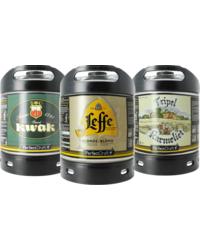 Kegs - Assortiment 3 fûts 6L Leffe Blonde - Kwak - Tripel Karmeliet