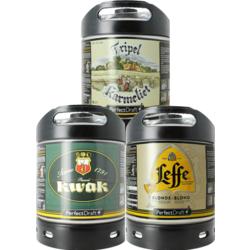 Fûts de bière - Assortiment 3 fûts 6L Leffe Blonde - Kwak - Tripel Karmeliet