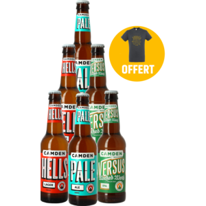 Camden Pale Ale, Hells Lager, Versus IPA 6-Pack + 1 T-shirt