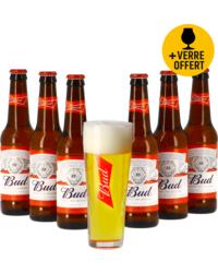 Accessoires et cadeaux - Assortiment Budweiser 6 bières et 1 verre offert