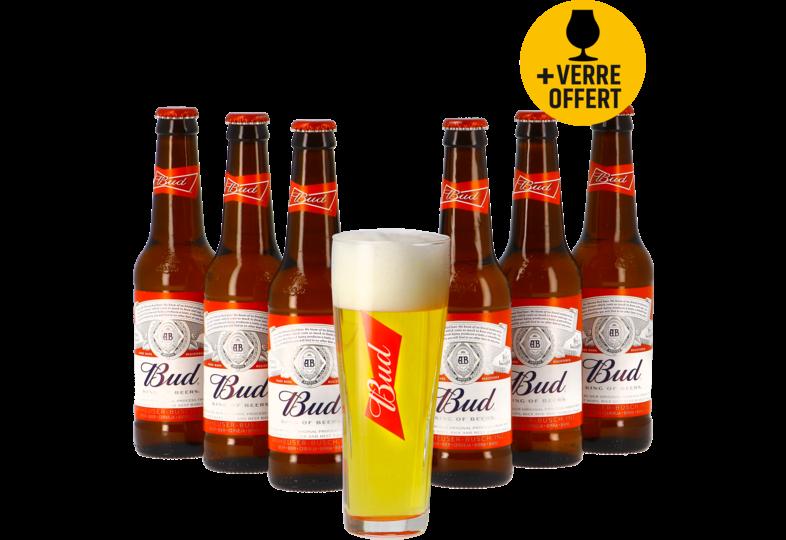 Cadeaus en accessoires - Budweiser Budweiser Bud 6 pack + Gratis Budweiser bierglas