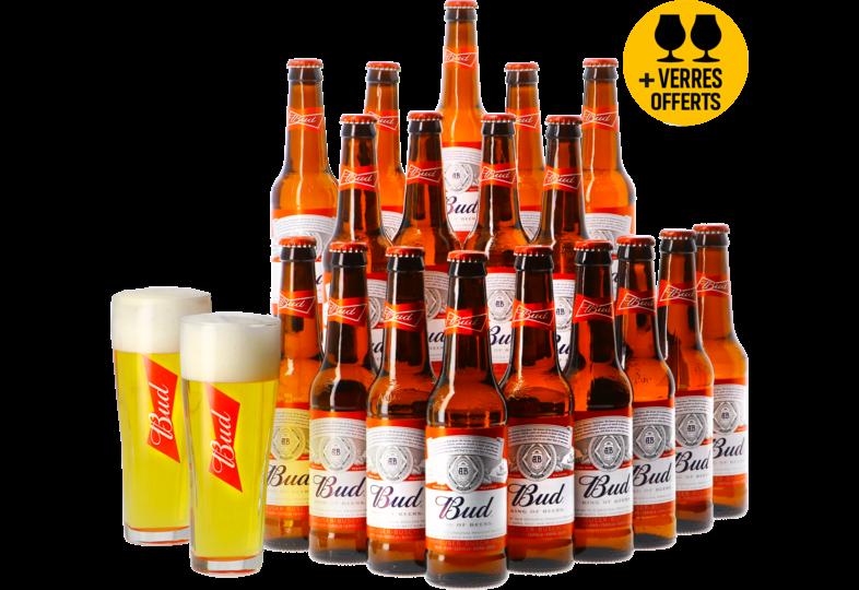 Accessori e regali - Budweiser Budweiser Bud 18 pack + 2 bicchieri gratis