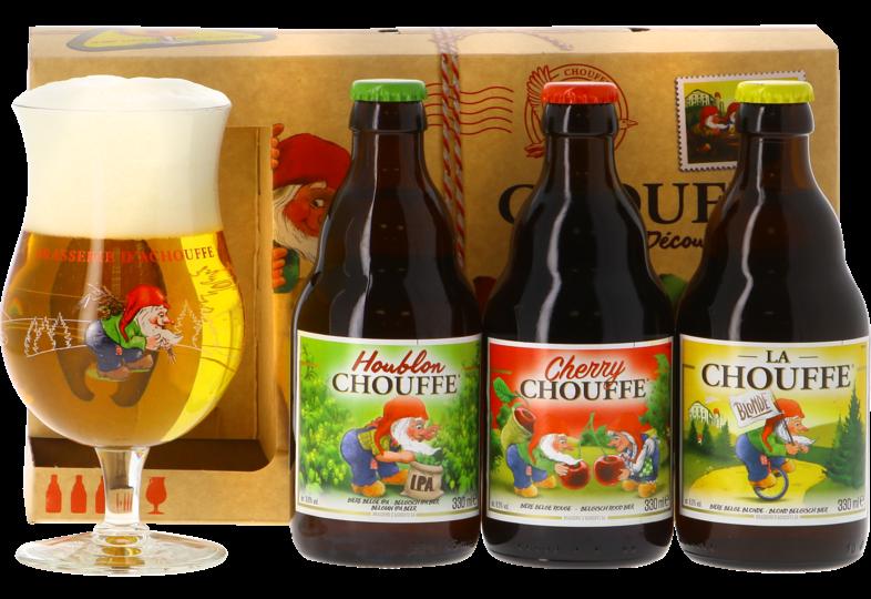 Accessoires et cadeaux - Coffret Chouffe Découverte 3 bières + 1 verre 33 cl