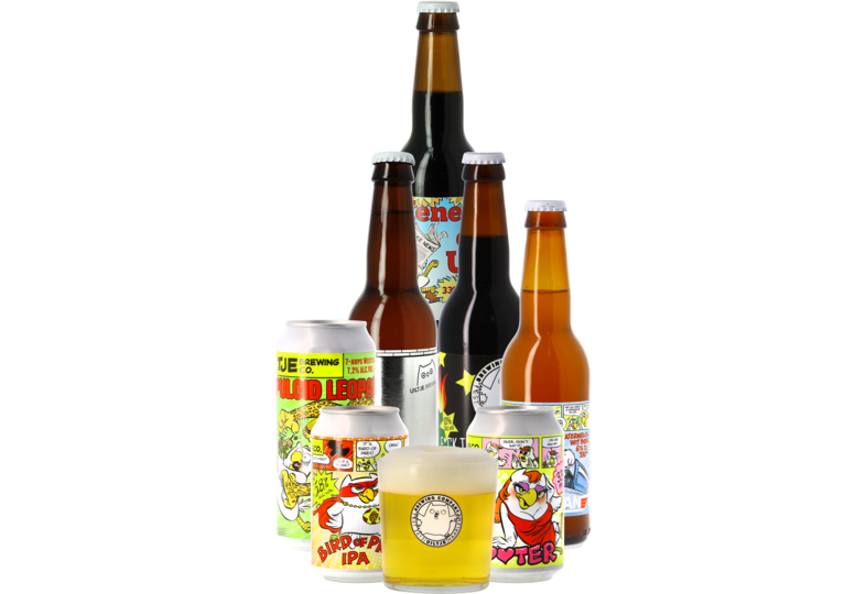 Cadeaus en accessoires - Assortiment Uiltje (7 bières + 1 Verre plat 30 cl)