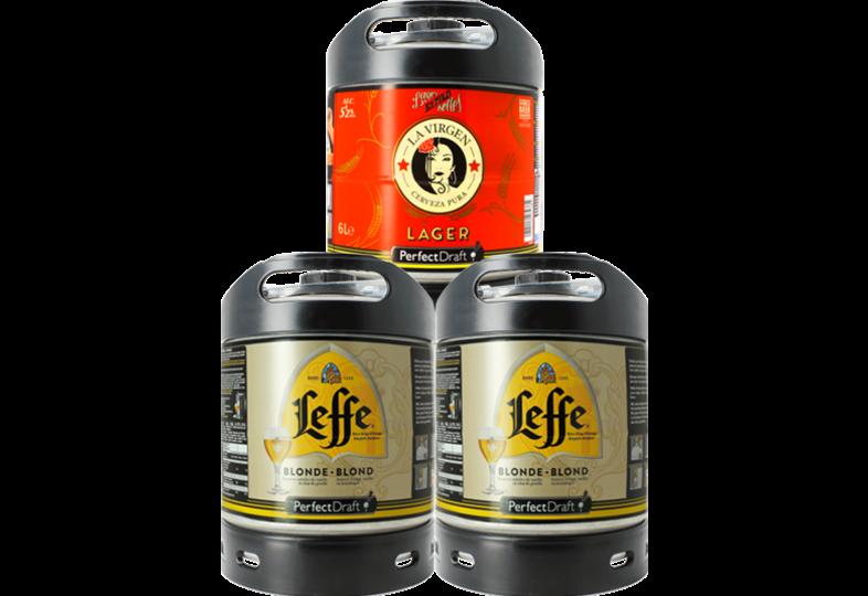 Fûts de bière - Assortiment 3 fûts 6L : 2 Leffe Blonde - 1 La Virgen Lager