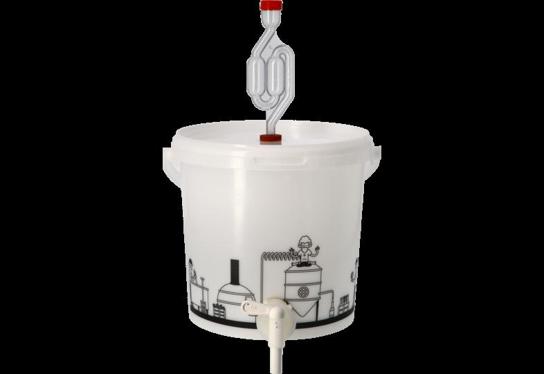 Accessoires du brasseur - Seau de fermentation 6,2L gradué et percé avec Robinet, couvercle troué et Barboteur