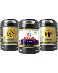 Kegs - Assortiment 3 fûts 6L : 2 Leffe Blonde - 1 Ginette Lager