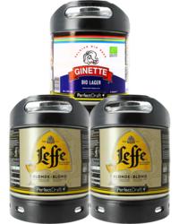 Fûts de bière - Assortiment 3 fûts 6L : 2 Leffe Blonde - 1 Ginette Lager